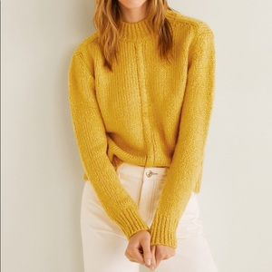 MANGO Yellow chunky knit mock neck sweater